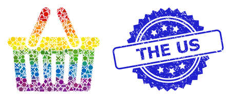 Rainbow vibrant vector shopping basket collage for LGBT, and The Us textured rosette seal. Blue seal has The Us title inside rosette. Иллюстрация