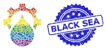 Rainbow colored vector water supply service gear mosaic for LGBT, and Black Sea textured rosette stamp seal. Blue stamp seal contains Black Sea caption inside rosette.