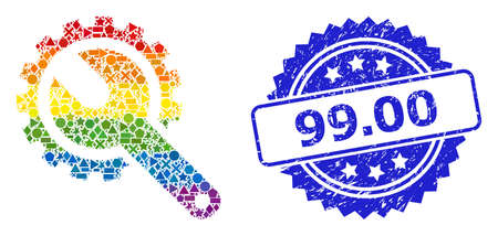 Bright colored vector repair tools mosaic for LGBT, and 99.00 rubber rosette stamp seal. Blue stamp seal includes 99.00 caption inside rosette.