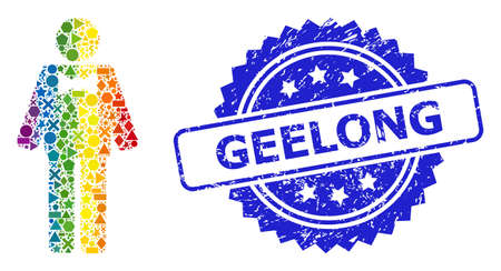 Spectrum colored vector groom collage for LGBT, and Geelong grunge rosette stamp seal. Blue stamp has Geelong title inside rosette.