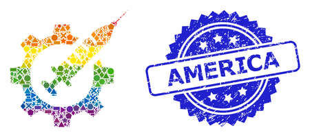 Rainbow colorful vector vaccine industry mosaic for LGBT, and America dirty rosette seal. Blue stamp seal contains America tag inside rosette. Иллюстрация