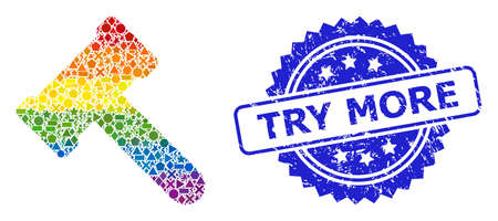 Rainbow colored vector hammer collage for LGBT, and Try More scratched rosette watermark. Blue stamp includes Try More title inside rosette.