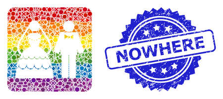 Bright colorful vector wedding couple mosaic for LGBT, and Nowhere unclean rosette stamp seal. Blue seal contains Nowhere text inside rosette.