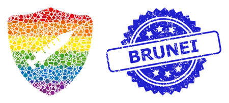 Rainbow colorful vector shield vaccine collage for LGBT, and Brunei unclean rosette stamp seal. Blue stamp seal includes Brunei caption inside rosette. Иллюстрация
