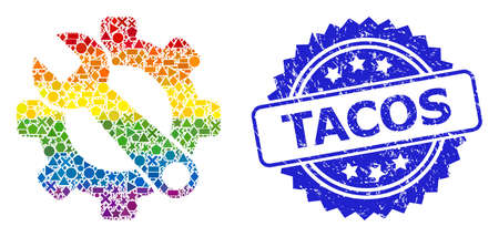 Rainbow colorful vector service tools collage for LGBT, and Tacos textured rosette stamp seal. Blue seal contains Tacos tag inside rosette. Иллюстрация