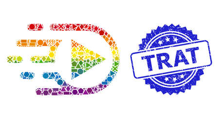 Bright colored vector play function collage for LGBT, and Trat rubber rosette stamp seal. Blue seal contains Trat tag inside rosette.