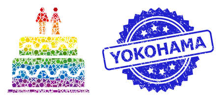 Bright colorful vector marriage cake collage for LGBT, and Yokohama corroded rosette stamp seal. Blue stamp seal contains Yokohama caption inside rosette.