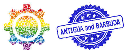 Bright vibrant vector gear wheel mosaic for LGBT, and Antigua and Barbuda unclean rosette stamp. Blue stamp contains Antigua and Barbuda caption inside rosette. Иллюстрация