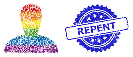 Bright colorful vector spawn persona collage for LGBT, and Repent scratched rosette seal print. Blue seal contains Repent caption inside rosette.