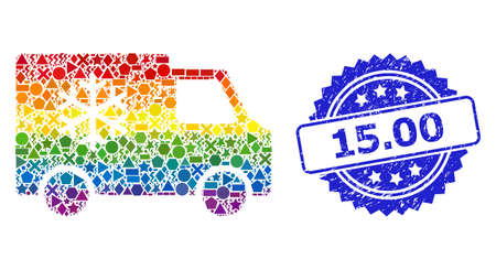 Spectrum vibrant vector refrigerator car collage for LGBT, and 15.00 scratched rosette stamp seal. Blue stamp contains 15.00 tag inside rosette. Иллюстрация