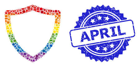 Bright colorful vector shiled collage for LGBT, and April textured rosette seal. Blue stamp seal includes April caption inside rosette.