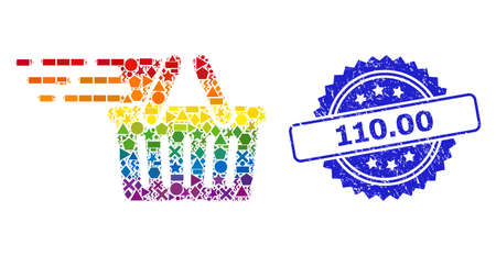 Bright colored vector shopping basket collage for LGBT, and 110.00 corroded rosette seal imitation. Blue seal has 110.00 text inside rosette.