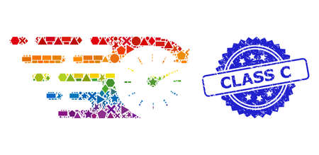 Spectrum vibrant vector time mosaic for LGBT, and Class C scratched rosette stamp seal. Blue stamp seal includes Class C title inside rosette.
