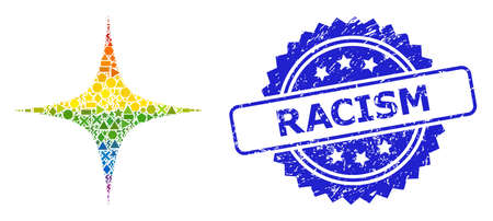 Bright vibrant vector space star collage for LGBT, and Racism grunge rosette seal imitation. Blue seal includes Racism title inside rosette.