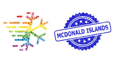 Spectrum colored vector frost snowflake mosaic for LGBT, and Mcdonald Islands corroded rosette stamp seal. Blue stamp seal contains Mcdonald Islands text inside rosette. Иллюстрация