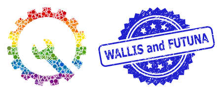 Bright colored vector gear repair collage for LGBT, and Wallis and Futuna textured rosette stamp seal. Blue stamp seal contains Wallis and Futuna title inside rosette. Иллюстрация