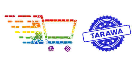 Rainbow vibrant vector shopping cart collage for LGBT, and Tarawa dirty rosette seal. Blue seal contains Tarawa text inside rosette.