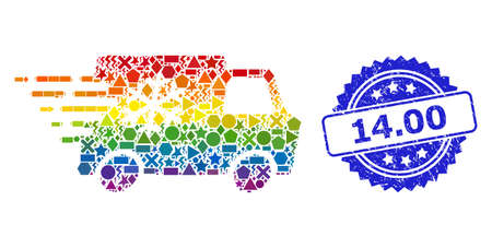 Rainbow colored vector refrigerator car collage for LGBT, and 14.00 textured rosette seal. Blue seal includes 14.00 tag inside rosette.