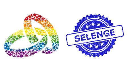 Spectrum vibrant vector wedding rings collage for LGBT, and Selenge corroded rosette seal print. Blue stamp seal has Selenge caption inside rosette.