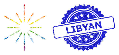 Rainbow colorful vector sun rays collage for LGBT, and Libyan scratched rosette seal print. Blue stamp seal contains Libyan title inside rosette.