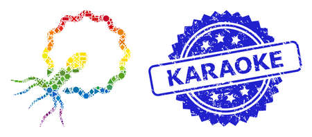 Rainbow vibrant vector virus penetrating cell mosaic for LGBT, and Karaoke corroded rosette seal imitation. Blue stamp seal has Karaoke text inside rosette.