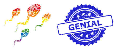 Rainbow vibrant vector sperm cells mosaic for LGBT, and Genial grunge rosette stamp seal. Blue stamp seal contains Genial tag inside rosette. Vector Illustration