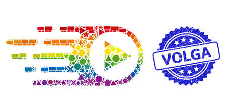 Spectrum colorful vector rush right collage for LGBT, and Volga textured rosette stamp seal. Blue stamp seal has Volga title inside rosette. Ilustração
