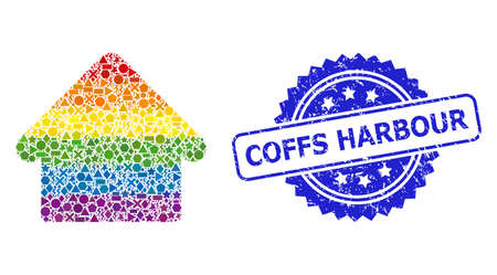 Bright colored vector house collage for LGBT, and Coffs Harbour textured rosette stamp seal. Blue stamp seal contains Coffs Harbour title inside rosette.