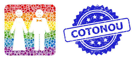 Bright colorful vector wedding emotions mosaic for LGBT, and Cotonou rubber rosette stamp. Blue stamp contains Cotonou tag inside rosette.