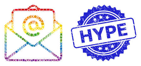 Rainbow colored vector open e-mail collage for LGBT, and Hype textured rosette stamp. Blue stamp seal includes Hype text inside rosette.