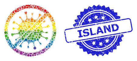 Spectrum vibrant vector stop microbe collage for LGBT, and Island corroded rosette seal imitation. Blue stamp seal contains Island title inside rosette. Vettoriali