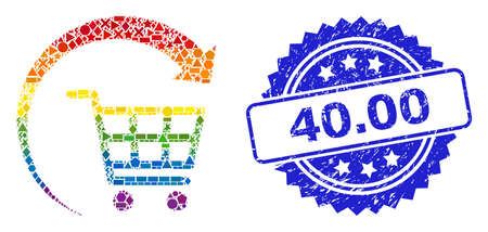 Spectrum colorful vector repeat shopping cart collage for LGBT, and 40.00 dirty rosette stamp seal. Blue stamp includes 40.00 tag inside rosette. Ilustração