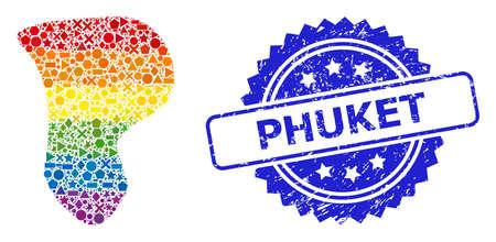 Spectrum vibrant vector spot mosaic for LGBT, and Phuket grunge rosette stamp seal. Blue stamp seal has Phuket text inside rosette.