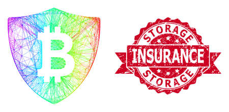 Rainbow vibrant net bitcoin protection, and Storage Insurance unclean ribbon stamp seal. Red stamp seal has Storage Insurance caption inside ribbon. Vecteurs