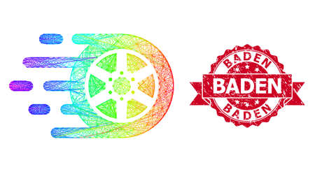 Spectrum colorful net car wheel, and Baden grunge ribbon seal. Red stamp seal includes Baden tag inside ribbon.Geometric hatched frame flat net based on car wheel icon, generated from crossed lines, Vecteurs