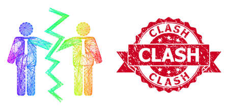 Rainbow vibrant wire frame businessmen divorce, and Clash unclean ribbon seal print. Red seal includes Clash title inside ribbon.Geometric linear frame 2D net based on businessmen divorce icon,