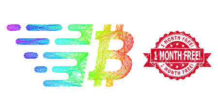 Spectrum vibrant net bitcoin, and 1 Month Free! grunge ribbon stamp seal. Red stamp includes 1 Month Free! text inside ribbon.Geometric hatched carcass flat network based on bitcoin icon, Ilustração