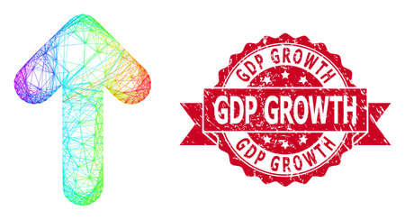 Rainbow colored network arrow up, and GDP Growth grunge ribbon seal print. Red seal includes GDP Growth text inside ribbon.Geometric wire carcass flat network based on arrow up icon, Ilustração