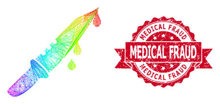 Rainbow colorful network blood knife, and Medical Fraud rubber ribbon stamp. Red stamp seal contains Medical Fraud tag inside ribbon.Geometric linear frame 2D network based on blood knife icon, Illusztráció