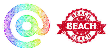 Spectrum vibrant net email symbol, and Beach grunge ribbon seal imitation. Red seal has Beach title inside ribbon.Geometric linear frame 2D network based on email symbol icon, Illustration