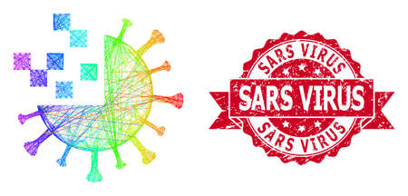 Spectrum vibrant wire frame synthetic virus, and Sars Virus corroded ribbon seal print. Red seal includes Sars Virus tag inside ribbon. 矢量图像