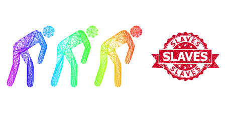 Rainbow vibrant net slave people, and Slaves grunge ribbon stamp. Red stamp has Slaves title inside ribbon.Geometric wire frame 2D net based on slave people icon, generated with crossing lines, Vectores