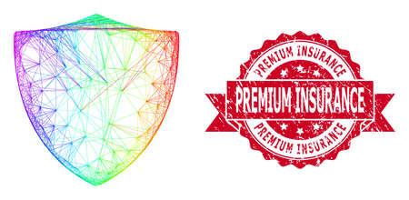 Bright colored wire frame protection shield, and Premium Insurance textured ribbon stamp seal. Red seal contains Premium Insurance caption inside ribbon.