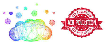 Spectrum colorful wire frame cloud emission, and Air Pollution dirty ribbon stamp. Red stamp seal includes Air Pollution title inside ribbon.