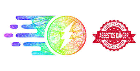 Rainbow colorful wire frame electric charge, and Asbestos Danger unclean ribbon seal imitation. Red stamp seal contains Asbestos Danger caption inside ribbon.