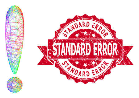 Rainbow vibrant net exclamation sign, and Standard Error textured ribbon stamp seal. Red stamp seal contains Standard Error tag inside ribbon.
