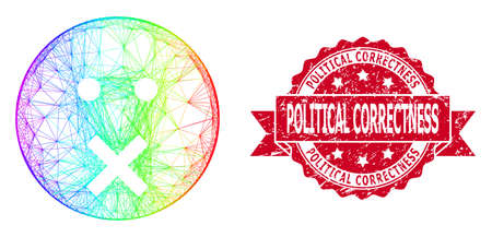 Spectrum colored wire frame silence smiley, and Political Correctness scratched ribbon stamp seal. Red stamp seal has Political Correctness caption inside ribbon. Ilustrace