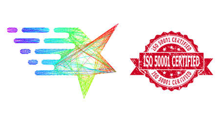 Rainbow vibrant wire frame star, and ISO 50001 Certified rubber ribbon stamp seal. Red stamp contains ISO 50001 Certified tag inside ribbon.Geometric hatched carcass flat net based on star icon,