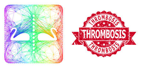 Rainbow colorful network separate swans, and Thrombosis grunge ribbon seal imitation. Red seal has Thrombosis tag inside ribbon.Geometric wire frame flat network based on separate swans icon,