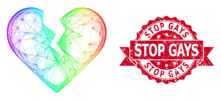 Spectrum colorful wire frame divorce heart, and Stop Gays dirty ribbon seal imitation. Red seal has Stop Gays text inside ribbon.Geometric linear frame 2D net based on divorce heart icon, 矢量图像